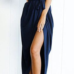 Yidarton Women's Casual Short Sleeve Slit Solid Party Summer Long Maxi Dress   Amazon (US)