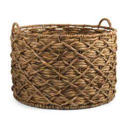 Xl Water Hyacinth Round Basket   TJ Maxx