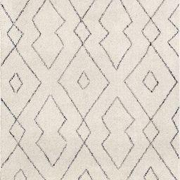 Ivory Double Diamond Trellis Tassel Area Rug | Rugs USA