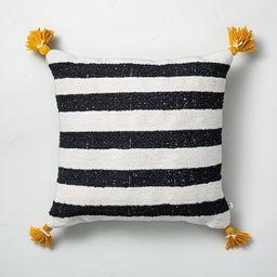"18"" x 18"" Cabana Stripes Indoor/Outdoor Throw Pillow Black/Yellow - Hearth & Hand™ with Magnoli... | Target"