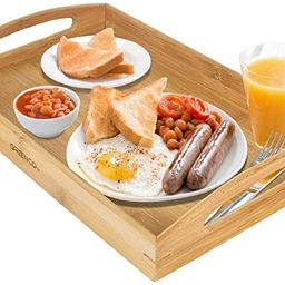 Greenco Rectangle Bamboo Butler Serving Tray With Handles | Amazon (US)