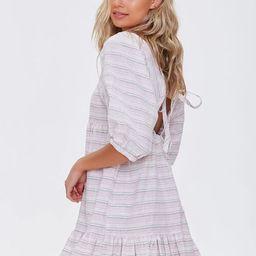 Striped Linen-Blend Mini Dress   Forever 21 (US)