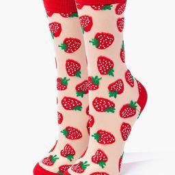Sheer Strawberry Crew Socks | Forever 21 (US)