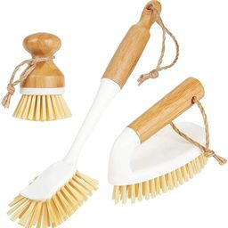 mDesign Bamboo Household Cleaning Sink Wet Scrubber Brushes, Stiff Bristles, for Kitchen, Bathroo... | Amazon (US)