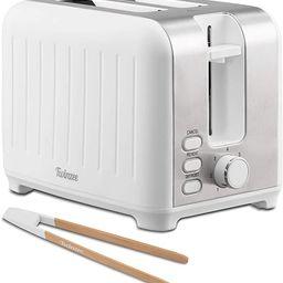 Twinzee Wide Slot Toaster 2 Slice - Retro Toaster, Matte White and Stainless Steel - Small Toaste... | Amazon (US)