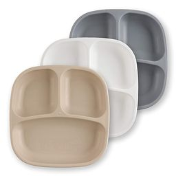 RE-PLAY Made in USA 3pk of Deep Divided Plates in Sand, White and Grey | Eco Friendly Recycled Mi... | Amazon (US)