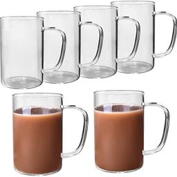 HORLIMER 10 oz Clear Coffee Mug Set of 6, Glass Coffee Cup for Tea Cappuccino Latte Milk Juice | Amazon (US)