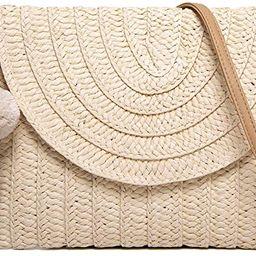 Women's Hand Wrist Straw Clutch Bag Bohemian Summer Beach Sea Purse and Handbag | Amazon (US)