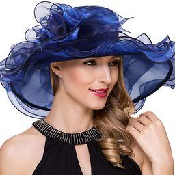 Women Kentucky Derby Church Dress Fascinator Wide Brim Tea Party Wedding Hats S042b | Amazon (US)