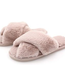 Topgalaxy.Z Women's Cross Band Soft Plush Fuzzy House/Indoor Slippers,Open Toe Faux Fur Fluffy Fl... | Amazon (CA)