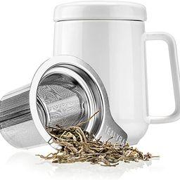 Tealyra - Peak Ceramic White Tea Cup Infuser - 580ml - Large Tea High-Fired Ceramic Mug with Lid ... | Amazon (CA)