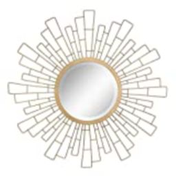 "Stonebriar Round Decorative Antique Gold 23"" Geometric Metal Sunburst Hanging Mirror for Wall, Moder   Amazon (US)"