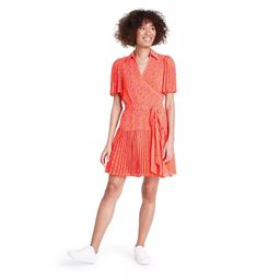 Floral Flutter Sleeve Pleated Wrap Dress - ALEXIS for Target Orange | Target