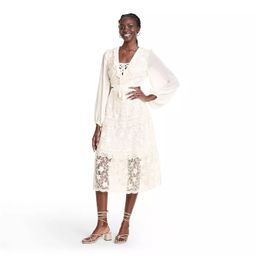 Long Sleeve Lace Cutout Dress - ALEXIS for Target Cream | Target