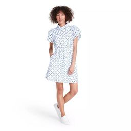 Dot Tulip Sleeve Embroidered Shirtdress - ALEXIS for Target White/Blue | Target