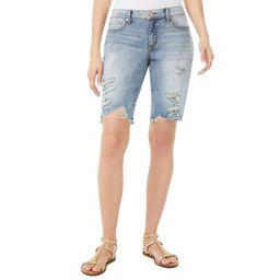 Scoop Women's Destructed Denim Bermuda Shorts   Walmart (US)