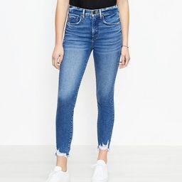 The Chewed Hem High Waist Skinny Ankle Jean in Vivid Dark Indigo Wash   LOFT
