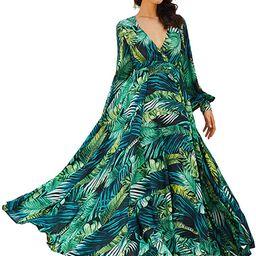 R.Vivimos Women's Chiffon Print V Neck Long Sleeve Tie Waist Casual Boho Maxi Dresses | Amazon (US)