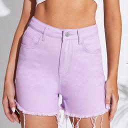 High Waist Raw Hem Denim Shorts | SHEIN
