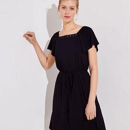 LOFT Crochet Trim Square Neck Dress   LOFT
