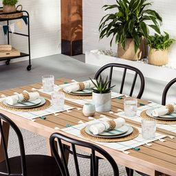 Windowpane Plaid Tassel Placemat Teal/Gray - Hearth & Hand™ with Magnolia   Target