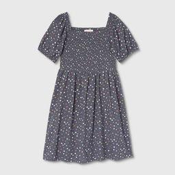 Girls' Smocked Woven Puff Sleeve Dress - Cat & Jack™ Navy   Target