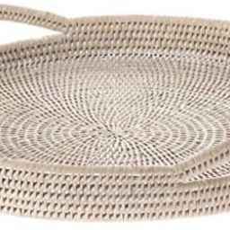 KOUBOO 1020045 La Jolla Rattan Round Serving Tray, White Wash   Amazon (US)