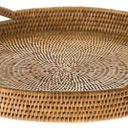 KOUBOO La Jolla Rattan Round Serving Tray, Honey Brown   Amazon (US)