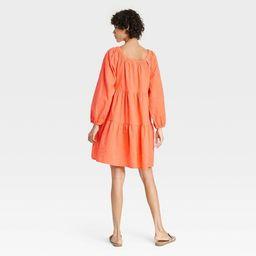 Women's Puff Long Sleeve Tiered Dress - Universal Thread™ | Target