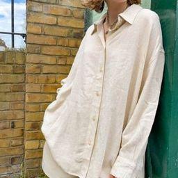 Weekday Jan linen shirt in beige | ASOS (Global)