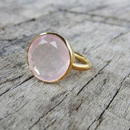 Rose Quartz Ring  Sterling Silver Gemstone Ring  14mm Round | Etsy | Etsy (AU)