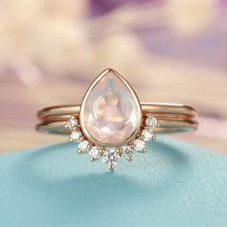 Rose Quartz Engagement Ring set Rose Gold engagement ring | Etsy | Etsy (AU)
