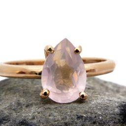 14k rose gold ringrose quartz ringpink quartz ringteardrop | Etsy | Etsy (AU)