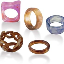 YOOESTORES82 Colorful Chunky Acrylic Resin Rings,Fashion Rhinestone Band Ring for Women Girls Sta... | Amazon (US)