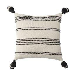 "Better Homes & Gardens 21"" x 21"", Woven Stipe Outdoor Toss Pillow, Black & White   Walmart (US)"