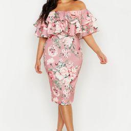 Plus Off Shoulder Floral Ruffle Midi Dress   Boohoo.com (US & CA)