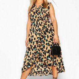 Plus Wrap Leopard Ruffle Midi Dress   Boohoo.com (US & CA)