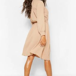 High Neck Smock Midi Dress   Boohoo.com (US & CA)
