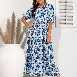 Allover Floral Print Smock Dress | SHEIN