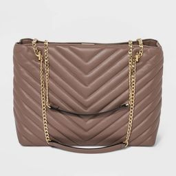 Quilted Chain Handle Magnetic Closure Tote Handbag - A New Day™   Target