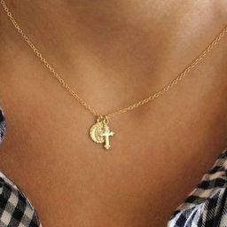 Tiny Cross & Saint Charm Necklace, Vintage Cross, Virgin Mary Cross Necklace, Mary Necklace, Gold...   Etsy (US)
