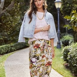 Floral-Print Sarong Faux-Wrap Skirt   Chico's
