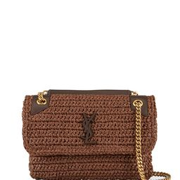 Saint Laurent Niki YSL Monogram Medium Crocheted Shoulder Bag | Neiman Marcus