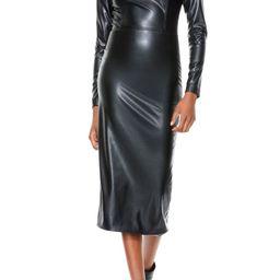 Delora Long Sleeve Faux Leather Midi Dress | Nordstrom