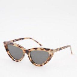 ASOS DESIGN recycled frame bevelled cat eye sunglasses in milky tort   ASOS (Global)