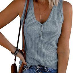 Saodimallsu Womens V Neck Tank Tops Summer Ribbed Sleeveless Henley Shirts Casual Loose Button Up...   Amazon (US)