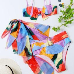 3pack Allover Graphic Belted Push Up Bikini Swimsuit | SHEIN
