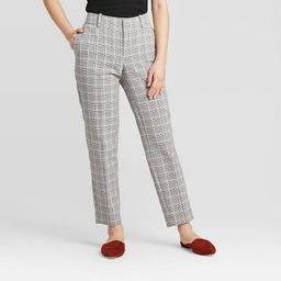 Women's Plaid Mid-Rise Slim Ankle Pants - A New Day™ Gray 0 | Target