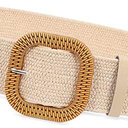 Fashion Wide Straw Woven Elastic Stretch Waist Band Belt Summer Bohemian Ladies Beach Dress Belts | Amazon (US)