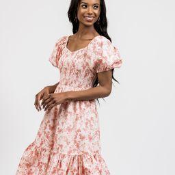 Puff Sleeve Smocked Midi Dress- Pink Poppy | Rachel Parcell